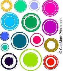 gabarits, ensemble, grunge, coloré, très, grand, clair, tampons