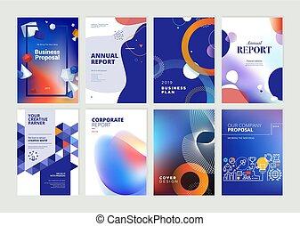 gabarits, ensemble, rapport annuel, aviateur, conception, brochure, a4, taille