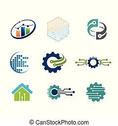 gabarits, ensemble, vecteur, technologie, logo, constitué