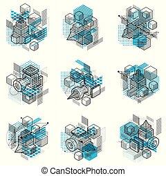 gabarits, hexagones, isométrique, fait, elements., résumé, arrière-plans, différent, carrés, lignes, vecteur, cubes, rectangles, set., illustrations.