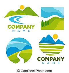 gabarits, icônes, compagnie, nature, vecteur, paysage vert