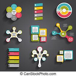 gabarits, illustra, business, collection, infographic, vecteur