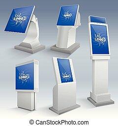 gabarits, information, touchscreen, stands, kiosque, displays., vecteur, interactif