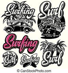 gabarits, lettrage, différent, ensemble, vecteur, thème, surfer, éléments conception