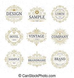 gabarits, luxe, logo, ensemble, vendange