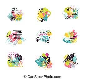 gabarits, mères, collection., résumé, arrière-plans, invitations, main, mariage, dessiné, cartes, anniversaire, créatif, jour, fête
