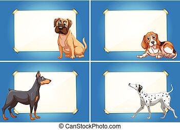 gabarits, mignon, frontière, chiens, quatre