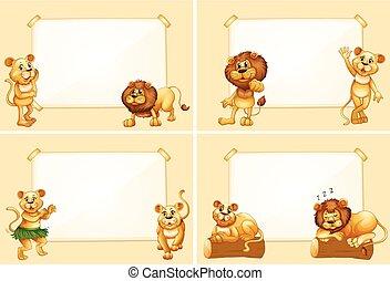 gabarits, mignon, frontière, lions, quatre