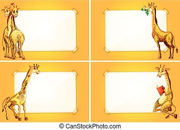 gabarits, mignon, frontière, quatre, girafes