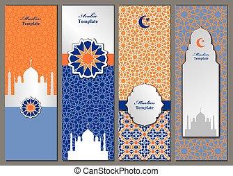 gabarits, modèle, musulman, ensemble, arabe, bannières, islam