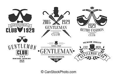 gabarits, mode, club, vendange, monsieur, illustration, ensemble, emblèmes, vecteur, retro, logo