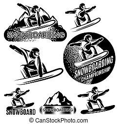 gabarits, montagnes, ensemble, sports neige, vecteur, divers, snowboarders, fond, monochrome