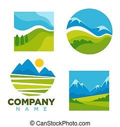 gabarits, nature, compagnie, icônes, vecteur, paysage vert