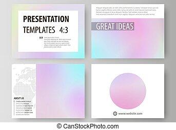 gabarits, pastel, holographic, business, coloré, plat, effect., résumé, slides., dispositions, modèle, brouillé, surréaliste, couleurs, vecteur, fond, hologramme, présentation, texture., futuriste, design.