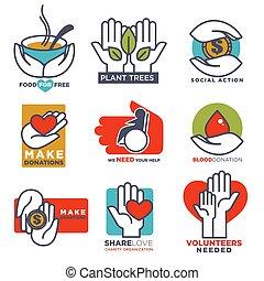 gabarits, plat, icônes, monde médical, nourriture, main, donation, vecteur, conception, mains, social, ou, charité