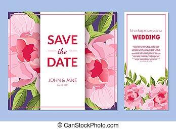 gabarits, rose, pivoine, espace, ensemble, texte, cadre, invitation, illustration, fleurs, élégant, vecteur, mariage, floral, sauver, date, carte