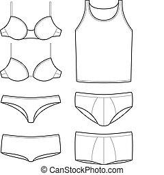 gabarits, sous-vêtements