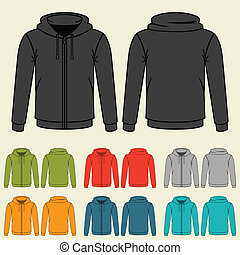 gabarits, sweatshirts, men., ensemble, coloré