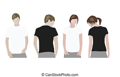 gabarits, &, t-shirt, (front, conception, back)