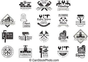 gabarits, texte, service, conception, plomberie, signe, silhouettes, noir, blanc, réparation, instrument