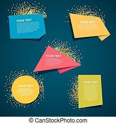gabarits, texte, style, bannière, origami