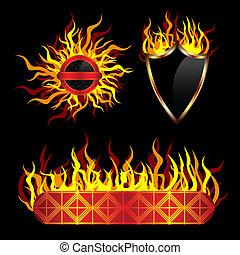 gabarits, vecteur, ardent