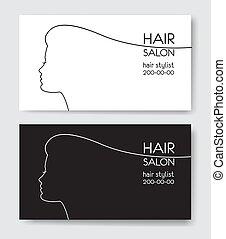gabarits, withl, salon, affaires femme, silhouette., cheveux, carte, silho