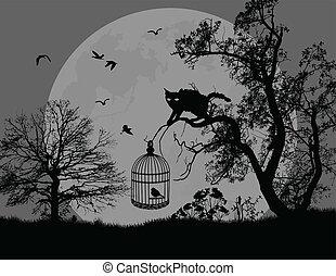 gabbia, albero, uccello, gatto