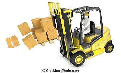 gabel, überladen, gelber , aufzug, lastwagen, vorwärts,...
