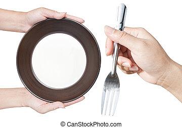 gabel, brauner, halten platte, oberseite, hand, hintergrund, weißes, küche blick