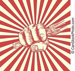 gabel, holzschnitt, propaganda, faust, hand