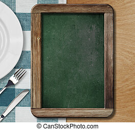 gabel, platte, menükarte, liegen, tafel, stellen messer...
