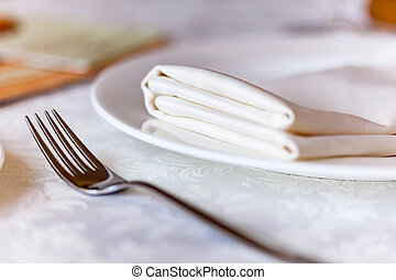 gabel, platte, weißes, serviette, silber