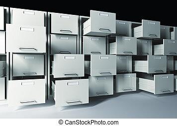 gabinete, arquivo, 3d