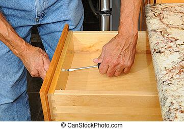 gabinete cajón, trabajando, insataller