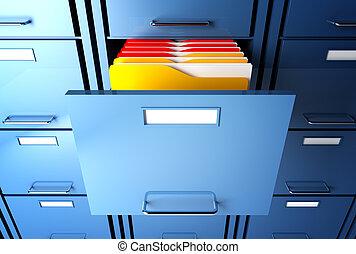 gabinete, carpeta, archivo