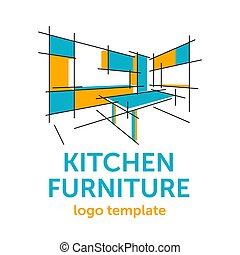 gabinete, de madera, cocina, muebles, plantilla, logotipo