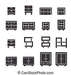 gabinete, jogo, ícone