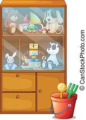 gabinete, lleno, juguetes