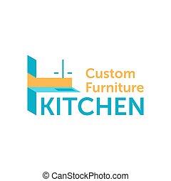 gabinete, logotipo, fábrica, costumbre, muebles, cocina, o
