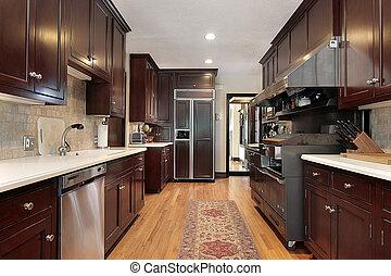 gabinete, madera, cocina