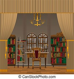 gabinete, ou, sala de estar, interior, com, antigüidade, mobília