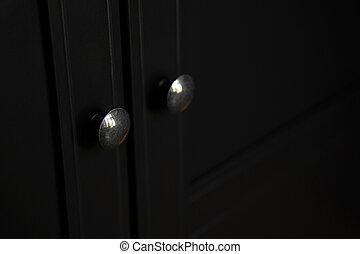 gabinete, roupas, botão, porta, metálico, pretas, closeup