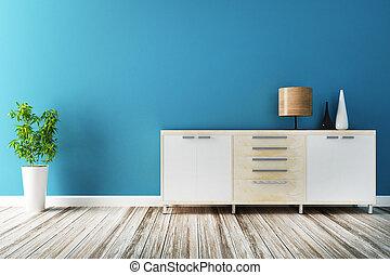 gabinete, y, muebles, de, interior, adornado