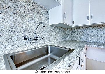 gabinetede cocina, con, acero, fregadero, y, granito, cima...