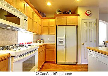 gabinetes, amarela, appliances., madeira, branca, cozinha