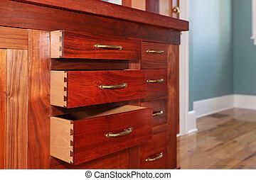 gabinetes, cereja, drawer., costume, construir, abertos, cozinha