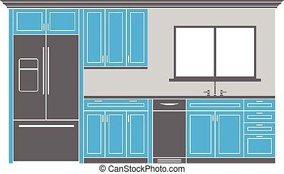 gabinetes, diseño, cocina