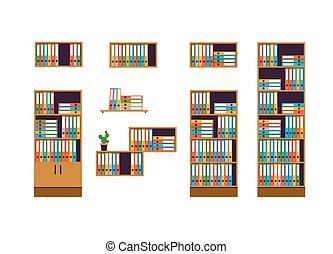 gabinetes, e, prateleiras, para, armazenar, documentos