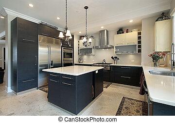 gabinetes, pretas, cozinha